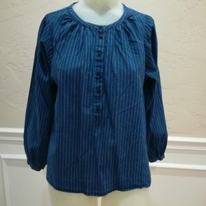 J Crew blue pin stripe blouse